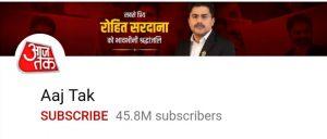 Aaj tak, Top 10 YouTube channel, top 10 Indian youtube channel